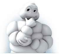 MIchelin Tire Man Pondering