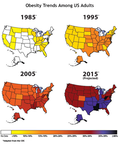 the increasing obesity rate of the united states of america Obesity rates in the united states are at an all-time high in 2015-2016  figure 1  prevalence of obesity among american adults, 2015-2016.