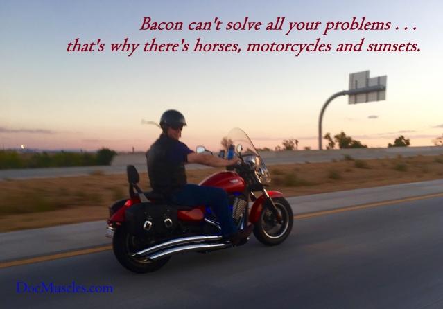 BaconMotorcycleSunsetAdam
